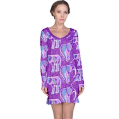 Cute Violet Elephants Pattern Long Sleeve Nightdress