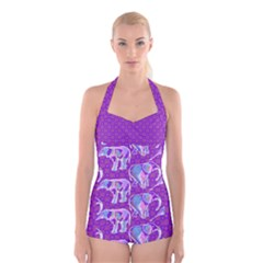 Cute Violet Elephants Pattern Boyleg Halter Swimsuit