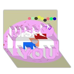 Decorative Abstract Circle Miss You 3d Greeting Card (7x5) by Valentinaart