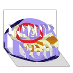 Abstract Circle Thank You 3d Greeting Card (7x5)