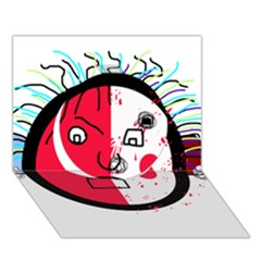 Angry Transparent Face Circle 3d Greeting Card (7x5) by Valentinaart