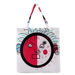 Angry Transparent Face Grocery Tote Bag by Valentinaart
