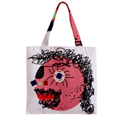 Abstract Face Zipper Grocery Tote Bag by Valentinaart