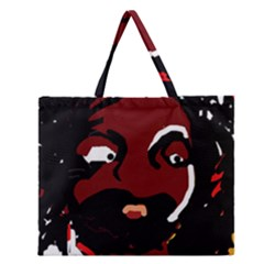 Abstract face  Zipper Large Tote Bag by Valentinaart