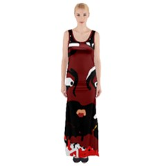 Abstract Face  Maxi Thigh Split Dress by Valentinaart
