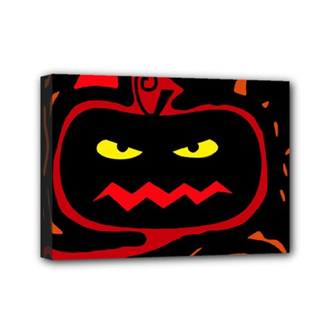 Halloween Pumpkin Mini Canvas 7  X 5  by Valentinaart