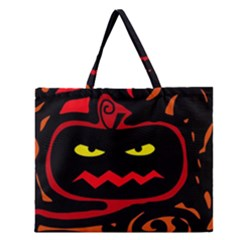 Halloween Pumpkin Zipper Large Tote Bag by Valentinaart