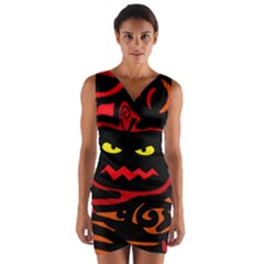 Halloween pumpkin Wrap Front Bodycon Dress by Valentinaart