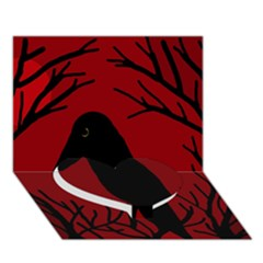 Halloween Raven   Red Heart Bottom 3d Greeting Card (7x5)