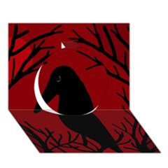 Halloween Raven   Red Circle 3d Greeting Card (7x5) by Valentinaart