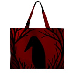 Halloween Raven   Red Zipper Mini Tote Bag by Valentinaart