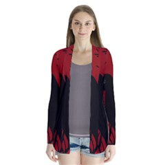 Halloween Raven   Red Drape Collar Cardigan by Valentinaart