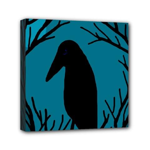 Halloween Raven   Blue Mini Canvas 6  X 6  by Valentinaart