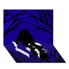 Halloween Raven   Deep Blue Love Bottom 3d Greeting Card (7x5) by Valentinaart