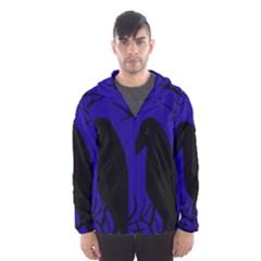 Halloween Raven   Deep Blue Hooded Wind Breaker (men) by Valentinaart