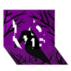 Halloween Raven   Purple Love 3d Greeting Card (7x5) by Valentinaart