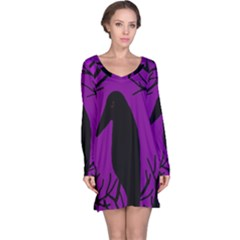 Halloween Raven   Purple Long Sleeve Nightdress by Valentinaart