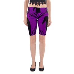 Halloween Raven   Purple Yoga Cropped Leggings by Valentinaart
