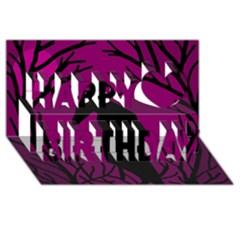Halloween Raven   Magenta Happy Birthday 3d Greeting Card (8x4) by Valentinaart