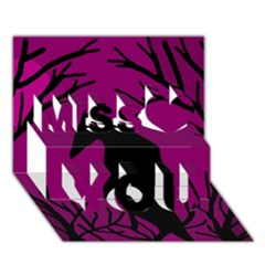 Halloween raven - magenta Miss You 3D Greeting Card (7x5)