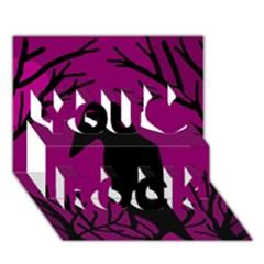 Halloween Raven   Magenta You Rock 3d Greeting Card (7x5) by Valentinaart