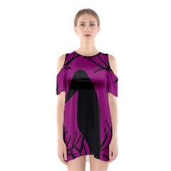 Halloween Raven   Magenta Cutout Shoulder Dress by Valentinaart