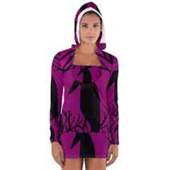Halloween Raven   Magenta Women s Long Sleeve Hooded T Shirt by Valentinaart