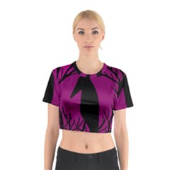 Halloween Raven   Magenta Cotton Crop Top by Valentinaart