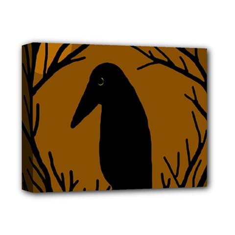 Halloween Raven   Brown Deluxe Canvas 14  X 11  by Valentinaart