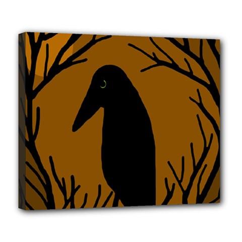 Halloween Raven   Brown Deluxe Canvas 24  X 20   by Valentinaart