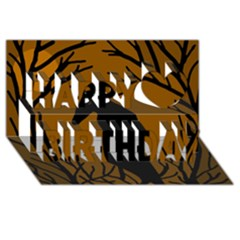 Halloween Raven   Brown Happy Birthday 3d Greeting Card (8x4) by Valentinaart