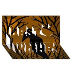 Halloween Raven   Brown Best Wish 3d Greeting Card (8x4) by Valentinaart