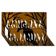 Halloween Raven   Brown Congrats Graduate 3d Greeting Card (8x4) by Valentinaart