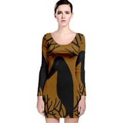 Halloween Raven   Brown Long Sleeve Velvet Bodycon Dress by Valentinaart