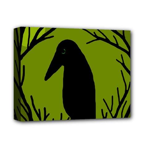 Halloween Raven   Green Deluxe Canvas 14  X 11  by Valentinaart