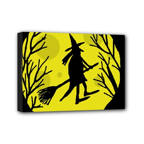 Halloween Witch   Yellow Moon Mini Canvas 7  X 5  by Valentinaart