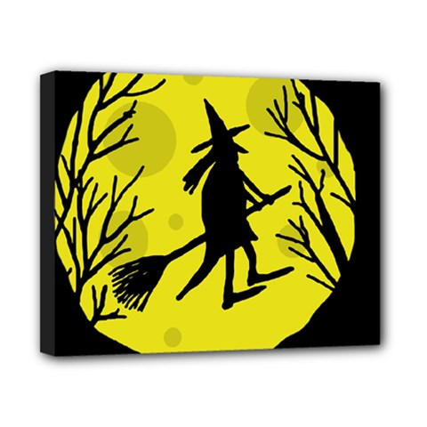 Halloween Witch   Yellow Moon Canvas 10  X 8  by Valentinaart