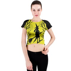 Halloween Witch   Yellow Moon Crew Neck Crop Top by Valentinaart