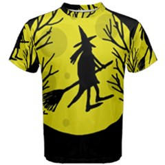 Halloween Witch   Yellow Moon Men s Cotton Tee by Valentinaart
