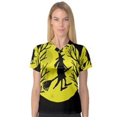 Halloween Witch   Yellow Moon Women s V Neck Sport Mesh Tee by Valentinaart