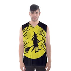 Halloween Witch   Yellow Moon Men s Basketball Tank Top by Valentinaart