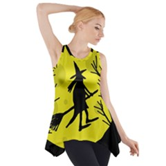 Halloween Witch   Yellow Moon Side Drop Tank Tunic by Valentinaart