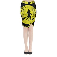 Halloween Witch   Yellow Moon Midi Wrap Pencil Skirt by Valentinaart