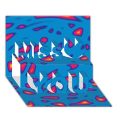 Blue And Red Neon Miss You 3d Greeting Card (7x5)