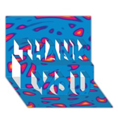 Blue And Red Neon Thank You 3d Greeting Card (7x5) by Valentinaart