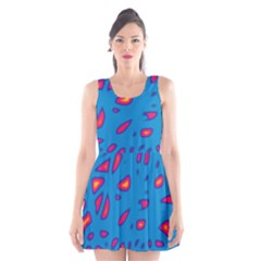 Blue and red neon Scoop Neck Skater Dress by Valentinaart