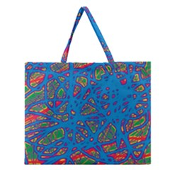 Colorful Neon Chaos Zipper Large Tote Bag by Valentinaart