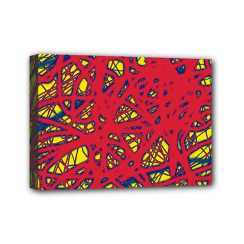 Yellow And Red Neon Design Mini Canvas 7  X 5  by Valentinaart