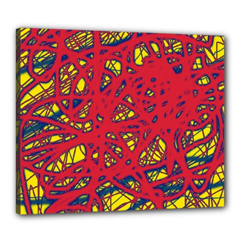 Yellow And Red Neon Design Canvas 24  X 20  by Valentinaart