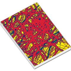 Yellow and red neon design Large Memo Pads by Valentinaart